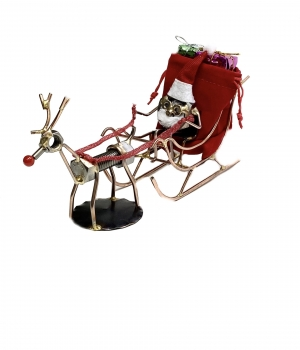 Santa Nut With Sleigh and Rudolph